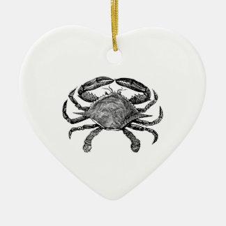 Feeling Crabby Black Ceramic Heart Ornament