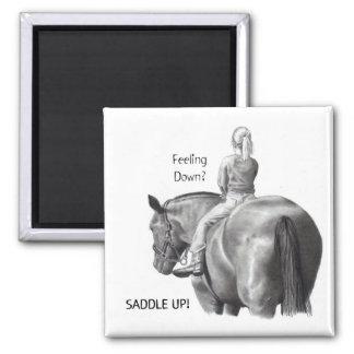 FEELING DOWN? SADDLE UP! PENCIL HORSE ART MAGNET