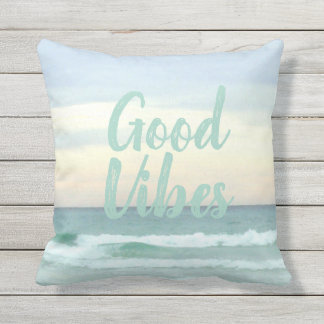 Feeling Good Vibes In My Happy Place Throw Pillow