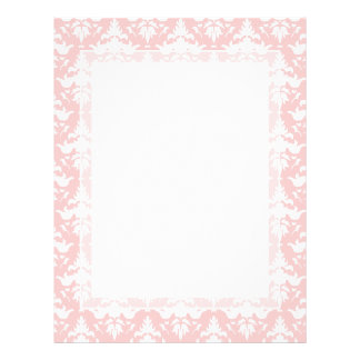 Feeling Peachy Pink and White Damask Letterhead