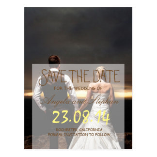 feelings love in sunset.couple/Save The Date Postcard