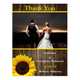 feelings love in sunset.wedding/rustic,sunflower postcard