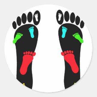 Feet Footprints Round Sticker
