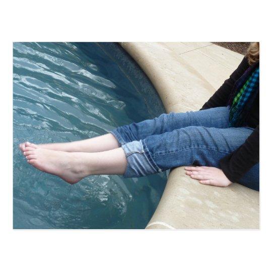 Feet in Fountain Postcard