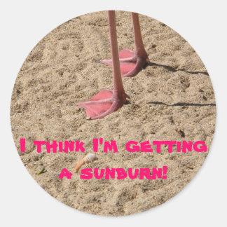feet in the sand round sticker