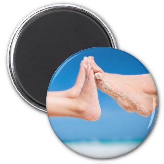 Feet on tropical sand magnet