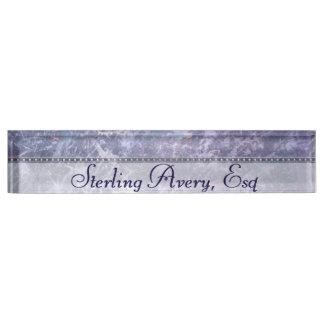 Feisty Desk   Name Lilac Lavender Purple Splatter Nameplate