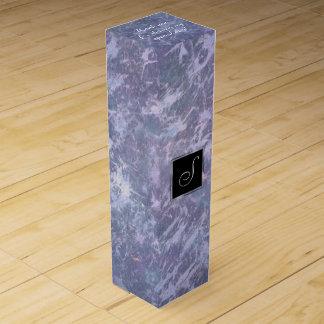 Feisty Party | Monogram Lavender Purple Splatter | Wine Box
