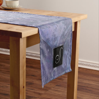 Feisty Table   Monogram Lavender Purple Splatter   Short Table Runner
