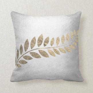 Felice Leaf Silver Floral Botanical Gray Minimal Throw Pillow