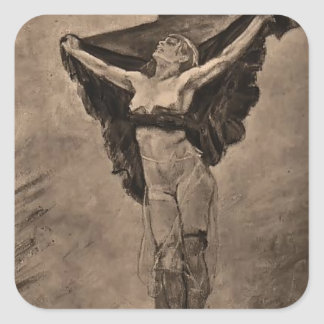 Felicien Rops- Study for Temptation of St. Anthony Square Sticker