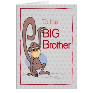 Félicitations au frère, singe mignon carte de vœux