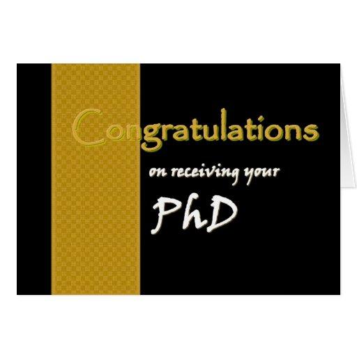 Félicitations NOMMÉES FAITES SUR COMMANDE - PhD Carte De Vœux