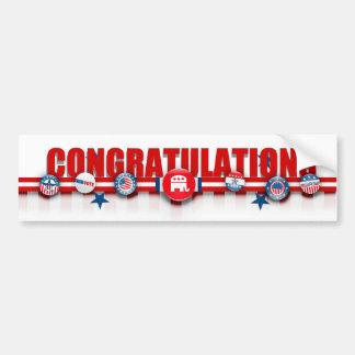 Félicitations sur la victoire républicaine, adhési autocollant de voiture