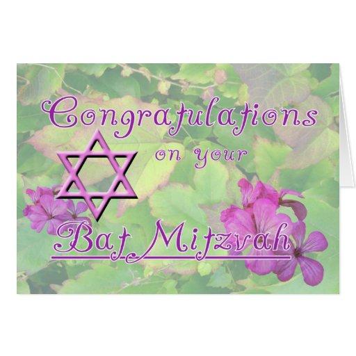 Félicitations sur votre bat mitzvah ! cartes de vœux