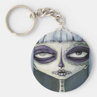 Felina de los muertos basic round button keychain