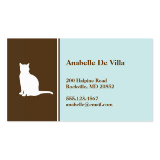 Feline cat  blue brown pet personal calling card business card template