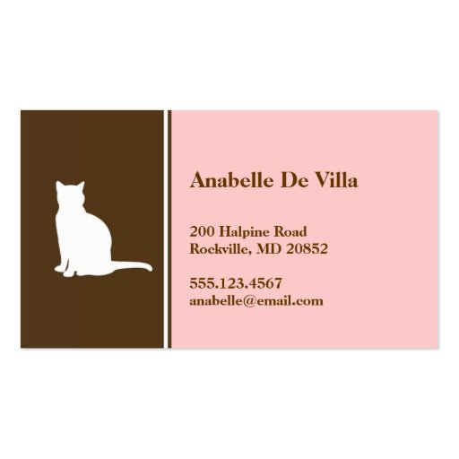 Feline cat pink brown pet personal calling card business card templates
