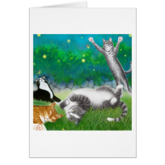 Feline Fun with Fireflies Card