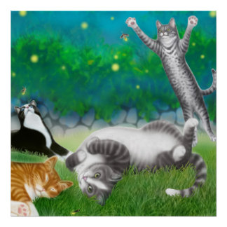 Feline Fun with Fireflies Poster