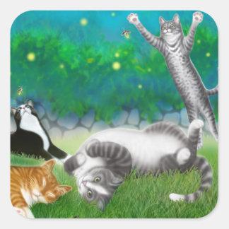 Feline Fun with Fireflies Square Sticker