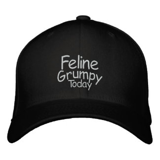 Feline Grumpy Today Embroidered Hats