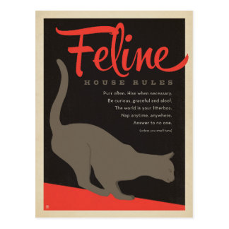 Feline House Rule Postcard