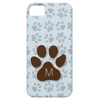 Feline Lover's Blue and Brown Paw Prints Monogram iPhone 5 Cases