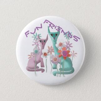 Felines in Flowers 2 Inch Round Button