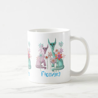 Felines in Flowers Coffee Mug