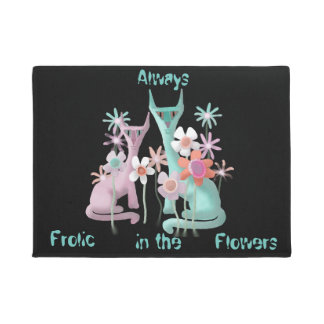 Felines in Flowers Doormat