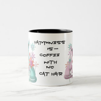 Felines in Flowers Two-Tone Coffee Mug