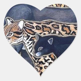 Felines of Costa Rica - Big cats Heart Sticker