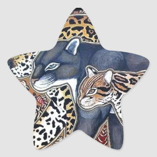 Felines of Costa Rica - Big cats Star Sticker