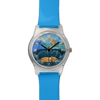 Feline's Underwater Dreams Cute Blue Watch