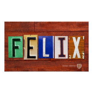 FELIX License Plate Letter Name Custom Sign Poster