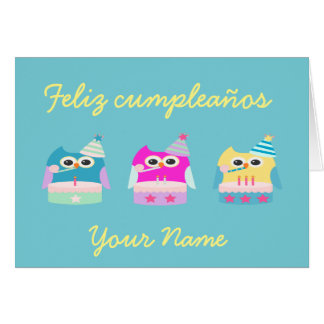 """Feliz cumpleaños/Happy Birthday"" Card with Owls"