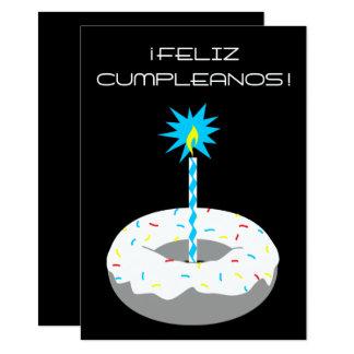 """feliz cumpleanos rosquilla 4.5"""" x 6.25"""" invitation card"""