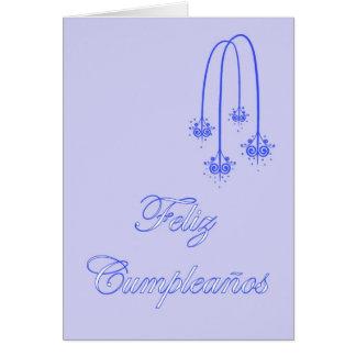 Feliz Cumpleaños Spanish Birthday blue scrolls Greeting Card
