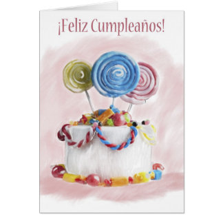 ¡Feliz Cumpleaños Spanish Birthday cake card