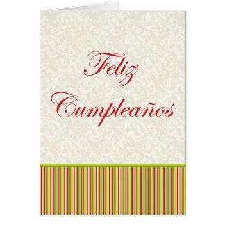 Feliz Cumpleaños Spanish Birthday floral stripes Greeting Card