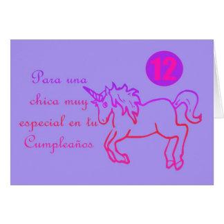 Feliz Cumpleaños Spanish Birthday unicorn 12 twelv Greeting Card