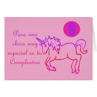 Feliz Cumpleaños Spanish Birthday unicorn 9 nine Greeting Card