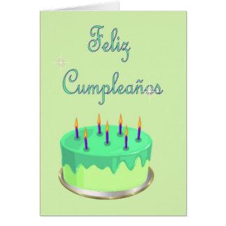 Feliz Cumpleaños Spanish Birthday with cake Greeting Cards