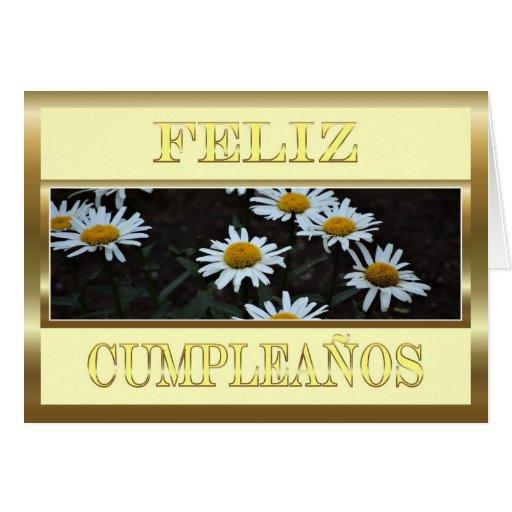 Feliz Cumpleaños Spanish Birthday with daisies Greeting Card