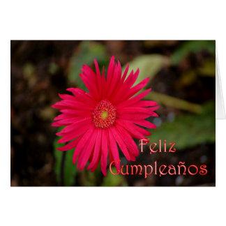 Feliz Cumpleaños Spanish Birthday with flower Greeting Card