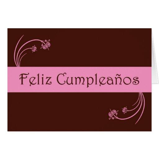 Feliz Cumpleaños Spanish Birthday with flowers Greeting Cards