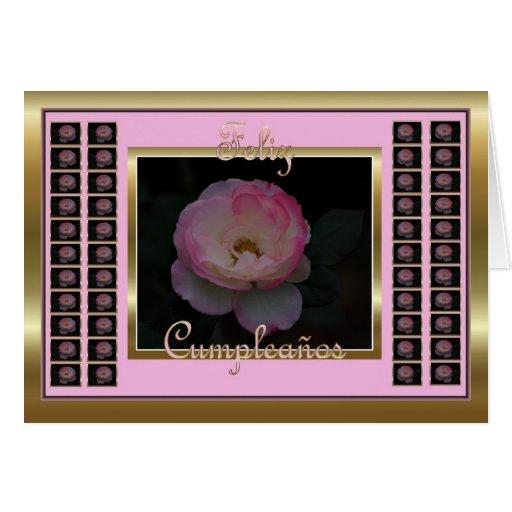 Feliz Cumpleaños Spanish Birthday with flowers Card