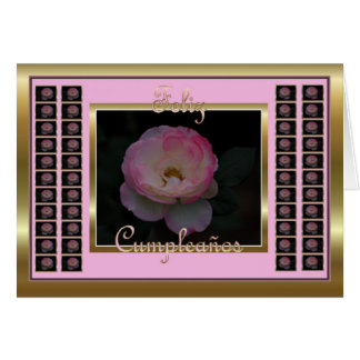Feliz Cumpleaños Spanish Birthday with flowers Greeting Card