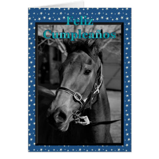 Feliz Cumpleaños Spanish Birthday with horse Greeting Card